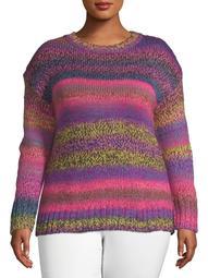 No Comment Juniors' Plus Size Space-Dyed Drop Shoulder Sweater