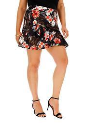 Pink Clove Wrap Tropical Mini Skirt