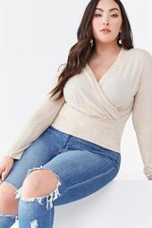 Plus Size Brushed Surplice Top