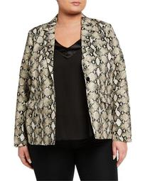 Plus Size Animal Print One-Button Jacket