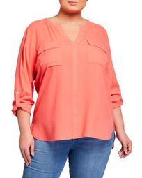 Plus Size Silk Two-Pocket Shirt
