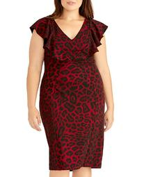 Lydia Animal-Print Ruffle Dress