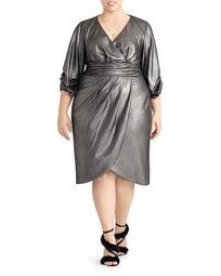 Metallic Faux Wrap Dress