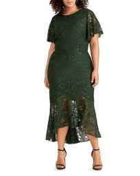 Margherite Sparkle Lace Midi Dress
