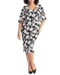 Delilah Printed-Lace Sheath Dress