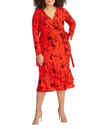Coco Flocked Floral Wrap Dress
