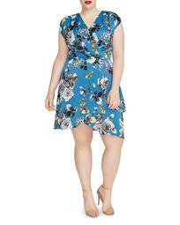 Plus Pierce Floral Print Faux-Wrap Dress