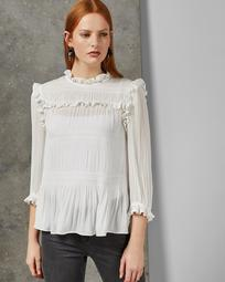 Pleated smocking high neck top