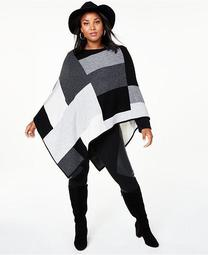 Plus Size Colorblock Cashmere Poncho, Created for Macy's