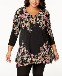 Plus Size Embroidered Keyhole Tunic, Created for Macy's