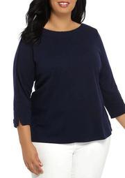 Plus Size Pom Trim Top Solid Shirt