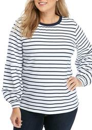 Plus Size Long Sleeve Puff Sleeve Top