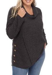 Plus Size Cowl Neck Side Button Pullover