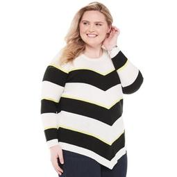 Plus Size Apt. 9® Striped Pointed Hem Tunic Sweater