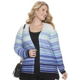Plus Size Croft & Barrow® Striped Open Front Cardigan