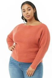 Plus Size Brushed Knit Off-the-Shoulder Sweater