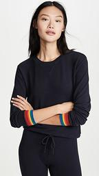 Crew Neck Sweatshirt with Rainbow Cuffs