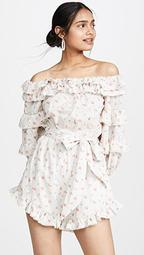 Posie Floral Lace Off the Shoulder Romper
