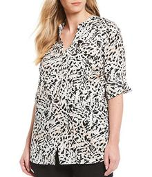 Plus Size Abstract Print Crepe de Chine Roll-Tab Sleeve Top
