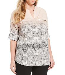 Plus Size Ombre Print Crepe de Chine V-Neck Roll-Tab Sleeve Top