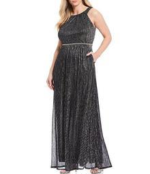 Plus Size Metallic Lurex Halter Beaded Waist Detail Gown