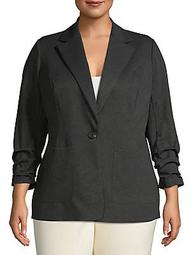 Plus Ruched-Sleeve Blazer