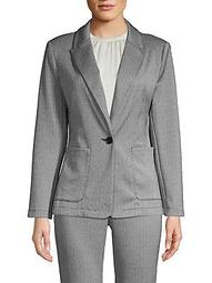 Petite Herringbone Button Jacket