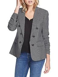 Open-Front Checkered Blazer