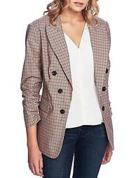 Plaid Ruched-Sleeve Blazer