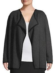 Plus Draped Herringbone Jacket