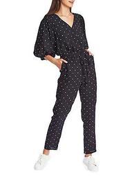 Polka-Dot Puff Sleeve Jumpsuit