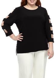 Plus Size Blouse with 3/4 Cutout Sleeves