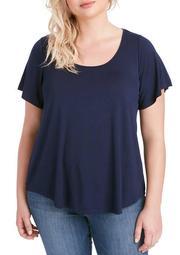 Plus Size Nina Flutter Sleeve T-Shirt