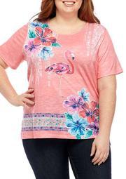 Plus Size Miami Beach Flamingo Border Knit Shirt