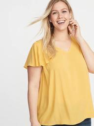 Flutter-Sleeve Plus-Size Blouse