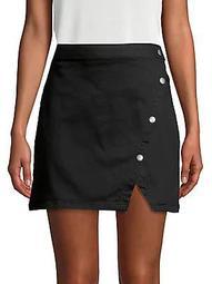 Notched Denim Skirt