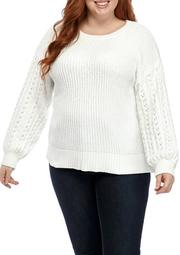 Plus Size Chenille Cable Textured Sleeve Sweater