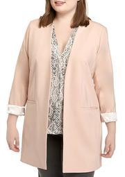 Plus Size Long Open Front Jacket