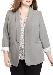 Plus Size Open Jacket with Rolled Sleeves