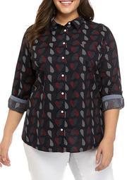 Plus Size Polka Heart Roll Tab Button Down Shirt