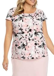 Plus Size Floral Drap Neck Cap Sleeve Top