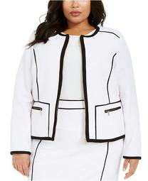 Plus Size Contrast Piping Zip-Up Jacket