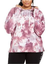 Plus Size Logo Tie-Dyed Hoodie Top