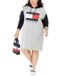Plus Size Colorblocked Hoodie Sweatshirt Dress