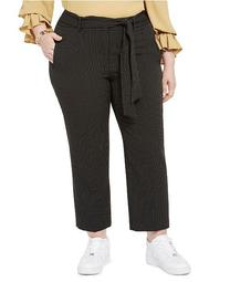 Trendy Plus Size Striped Tie-Waist Pants, Created For Macy's