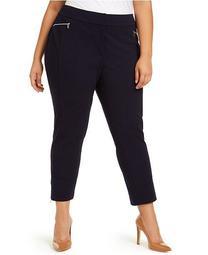 Plus Size Cropped Zipper-Pocket Pants