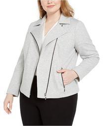 Trendy Plus Size Ponte-Knit Moto Jacket