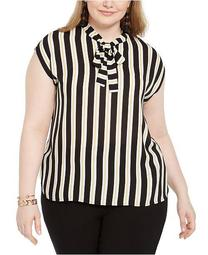 Trendy Plus Size Striped Tie-Neck Top, Created For Macy's
