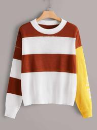Plus Drop Shoulder Color Block Sweater