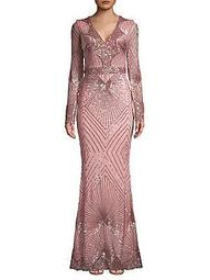 Geo Sequin V-Neck Fit-&-Flare Gown